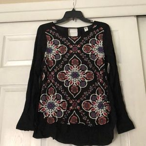 Old Navy floral black long sleeve top XS NWT